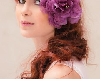 Bridal headpiece camellia Vivian silk flower purple wedding hair accessory