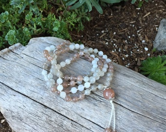 "Moonstone Mala ""Divine Feminine"" Mala with Sterling Silver and Tribe Hill Silver Yoga Beads B200"