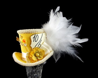 Yellow and Cream Flower Mad Hatter Medium Mini Top Hat Fascinator, Alice in Wonderland, Tea Party, Derby Hat