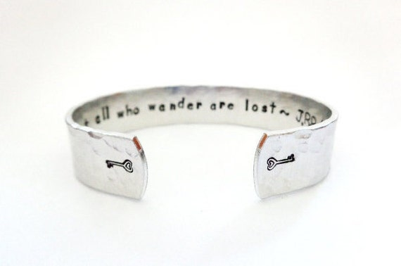 Secret Message Cuff Bracelet, Not all who wander are lost, Hammered Texured, Customizable