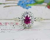 SALE Dainty Halo Promise Ring   9k Yellow Gold Ring   English Ruby Gemstone Ring   Antique Cluster Ring   Unique Engagement Ring   Size 5.75