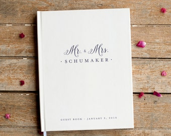 Mr. and Mrs. Wedding Guest Book Wedding Guestbook custom monogram guest book wedding sign in book navy wedding personalized photo booth book