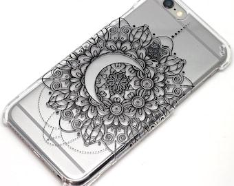 Crescent Moon Mandala Henna iphone 6 case clear Phone Case iPhone 6, 7, SE, 6 Plus, 7 Plus, 6S, 5, 5C, 5S, iPhone 8, iPhone 8 plus, galaxy