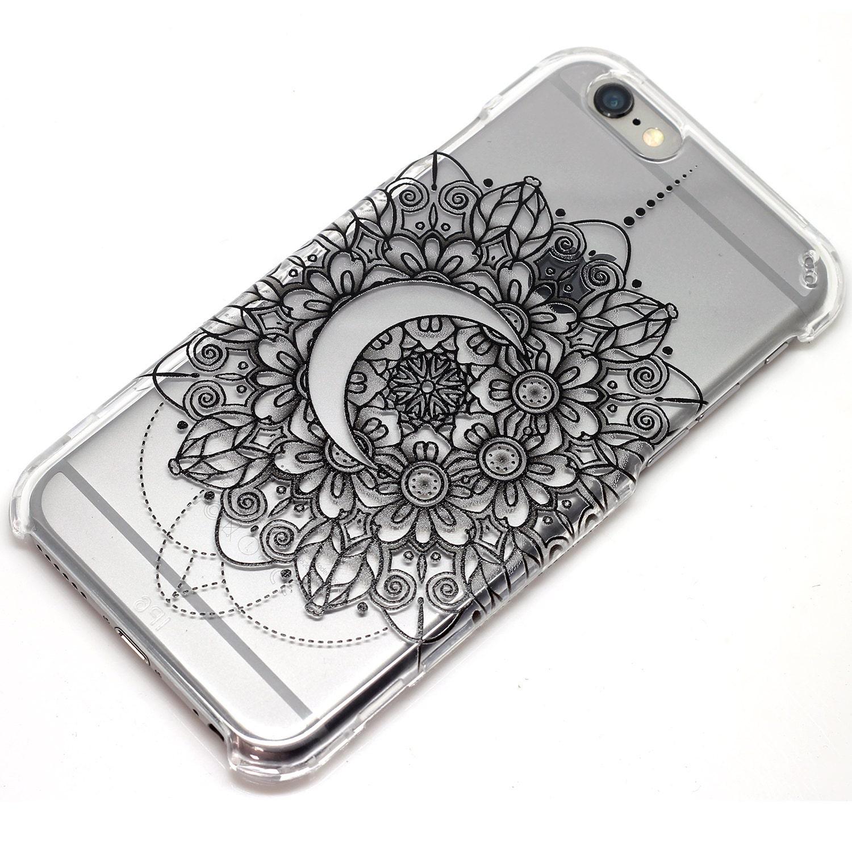 Crescent moon mandala henna iphone 6 case clear phone case for Case design