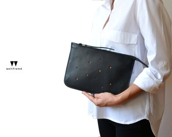 Leather Bag clutch envelope cosmetic pouch