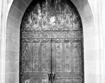 Church Doors, Gothic Doors, Black and White, Doors Photograph, Cathedral Doors, Boys Town Photo, Archway, romantic Doors, Fine art Print
