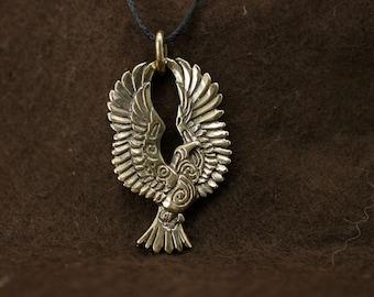 Soaring Eagle bronze pendant necklace bird fantasy