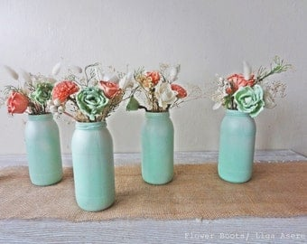 Mint and Coral Sola flower arrangements for jars Reception flowers Decor  DIY Wedding Shabby Chic Wedding Preserved Gypsophila Gardenia