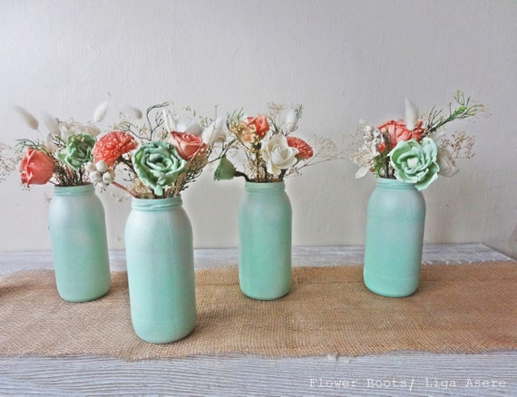 Items Similar To Mint And Coral Sola Flower Arrangements