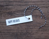 Happy Holidays Letterpress Gift Tags - Set of Seven