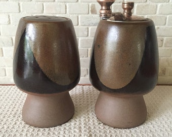 David Cressey Robert Maxwell Pottery Craft Style Salt Shaker and Pepper Grinder by Olde Thompson