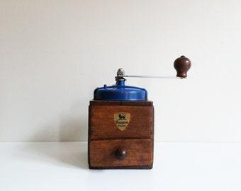 Vintage Wood Coffee Grinder / Peugeot Fereres, Vintage Home Decor