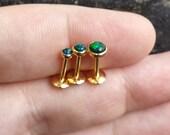 "Sale! 16g (1.2mm) 14kt Gold Plate Black Opal - 3mm 4mm or 5mm (5/16"" 8mm Barbell Length) Labret Lip Medusa Monroe Cartilage Jewelry Piercing"