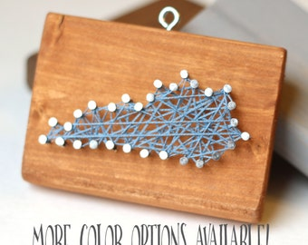 Kentucky Wood Christmas Ornament // Nail and String Art // Rustic