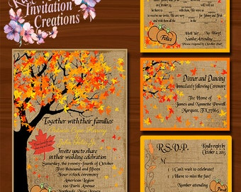 Fall Wedding Invitations, RSVP's, & Reception Cards
