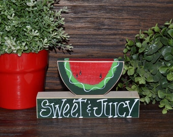 Watermelon Wood Block Set, Summer Decoration, Watermelon Decor, Summer Picnic, Primitive Seasonal Gift, Seasonal Home Decor