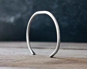 Matte Silver Cuff Bracelet - Adjustable Bracelet - Silver Cuff - by Modern Out
