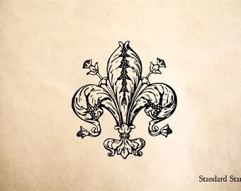 Fleur de Lis Rubber Stamp - 2 x 2 inches