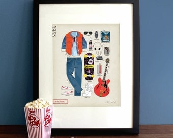 Back to the Future (1985) - Marty McFly, Michael J Fox, Movie Poster, Art Print, Illustration, Vintage Inspired Wall Art