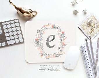 Monogram Mouse Pad Mousepad Floral Watercolor Mouse Mat Wreath Mouse Pad Office Mousemat Rectangular Floral Personalized Mousepad Round I79