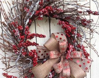 Christmas Wreath, Natural Christmas Wreath,Classic Christmas Wreath, Christmas Front Door Wreath,Burlap Christmas Wreath,Primitive Christmas