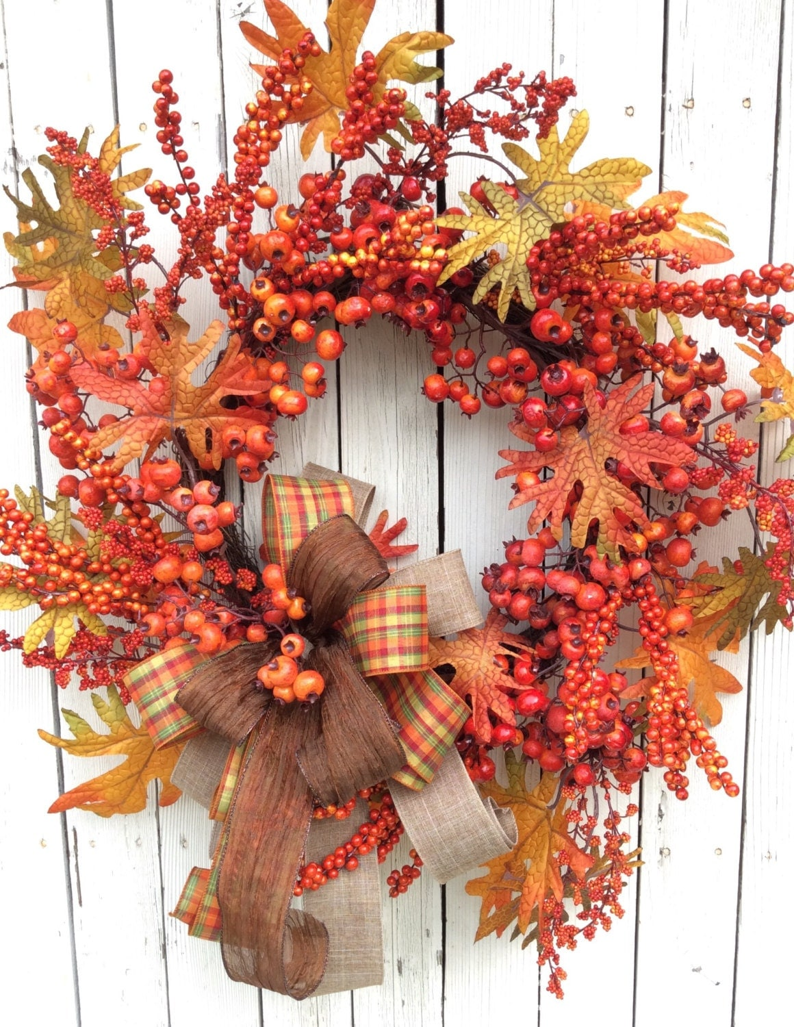 Fall berry wreaththanksgiving wreath back door fall wreath Fall autumn door wreaths