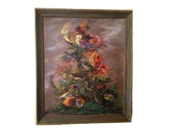 "Original Vintage Painting ""Storm Flower"" , Florence Reavey Payne, 1969"