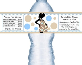 21 Mod Mom Baby Shower Water Bottle Labels