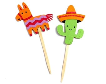 Fiesta Cupcake Toppers Set of 12 / Mexican Party Decoration Fiesta Baby Shower Fiesta Party Decorations Paper Cinco de Mayo Cupcake Topper