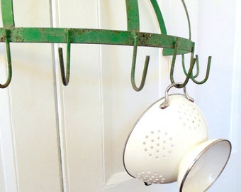 Pot Rack Iron Shabby Chic Chippy Green Country Kitchen