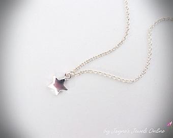 Star Necklace, minimalist jewelery, Cute Tiny Heart Necklace, Silver Star