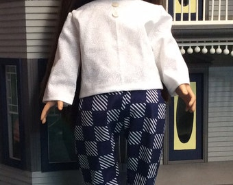 Doll pants and blouse navy and white