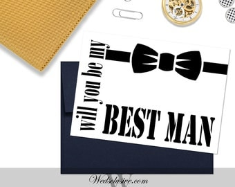 Will You Be My Best Man Card, Wedding Cards, Best Man and Groomsmen Cards - PRINTABLE - Instant Download