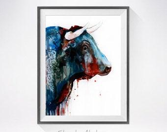 Bull 2 watercolor painting print, Bull art, animal art, Bull illustration, animal watercolor, farm art, watercolor print, art print