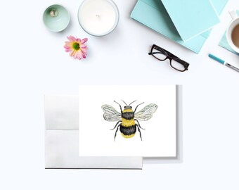 bee note card set - Set of 10 - Bee stationery - Greeting cards - Busy Bee - Gift for bee keeper - Gardener - Bee keeping - Honey Bee -
