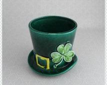 Leprechaun Hat Planter, Lefton 1960's, Shamrock, St Patrick's Day, Green Ceramic, Vintage Home Decor, 3 Leaf Clover, Yellow Buckle, Top Hat