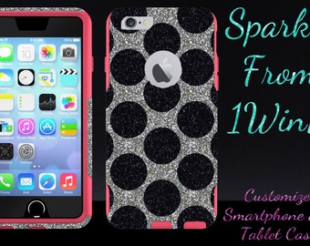 iPhone X - iPhone 8/8 Plus - iPhone 7/7 Plus iPhone 6 Case OTTERBOX - 4.7 iPhone 6 Commuter Custom Glitter Case White Gold/Black  Polka Dots