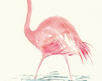 Watercolor Cards Pink Flamingo Watercolour Cards Bird Cards  Handmade Notecards  Blank Inside  Wildlife Greeting Cards Gift for Bird Lovers