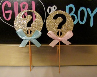 Gender Reveal Cupcake Toppers/Gold Pink and Blue Gender Reveal/Blue and Pink Cupcake Toppers/ Question Mark Cupcake Toppers/ Gender Reveal