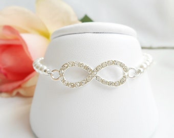 FREE United States Shipping Swarovski Pearl And Rhinestone Infinity Bridal Rhinestone Infinity Infinity Bridal Jewelry Bridesmaid Gift