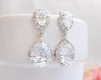 FREE US Shipping Cubic Zirconia Teardrop Bridal Earrings CZ Simulated Diamond Halo Teardrop Wedding Earrings Crystal Bridal Earrings