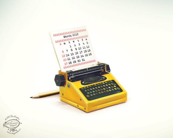 2016 & 2015 DIY Printable Paper Desk Calendar | Realistic Yellow Miniature Typewriter | A4 size template pdf files |Instant digital download