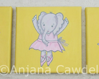Wall art - set of 3 canvas paintings, Elephant Art, Childrens Elephant Art, Childrens Elephant Illustration