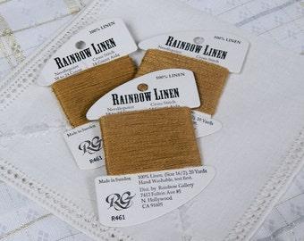 Rainbow Gallery - Rainbow Linen - R461 - Caramel - Three Card Lot - Cross Stitch Needlepoint Supply