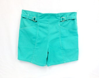 "Cotton Poly Shorts Turquoise with Adjustable Waist Sears Made in Canada Waist 36 Hips 40"" Vintage 80s/90s Summer Clothing Vintage 80s/90s"