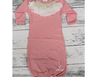 Baby Gown, Newborn Gown, Baby Sleeper,  Baby Hospital Outfit, Baby, Baby Take Home Outfit, Baby Girl, Baby Girl Gown, Sleep Gown