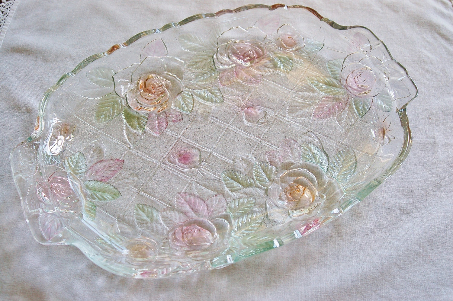 mikasa studio nova beauty rose glass platter wedding cottage