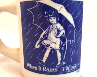 Morton Salt Girl Mug, Morton's Salt Girl Coffee Mug, When It Rains It Pours Cup, Morton Salt Advertising Mug 1921