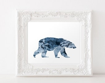 Downloadable Polar Bear Art Print - Polar Bear Silhouette - Polar Bear Download - Polar Bear Printable - Polar Bear Decor