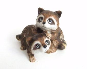 Vintage Raccoon Figurine, Playful Raccoon Babies, Woodland Wildlife Home Decor